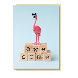 Flamingo Klappkarte AWESOME