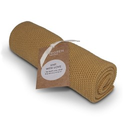 "Aspegren Handtuch ""Knit with Love"" Solid Mustard"