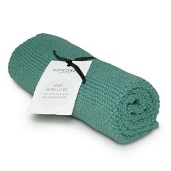 """Aspegren Handtuch """"Knit with Love"""" Petrol Grün"""