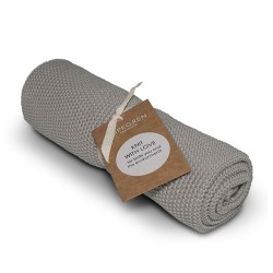 """Aspegren Handtuch """"Knit with Love"""" Solid Grey"""