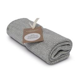 """Aspegren Handtuch """"Knit with Love"""" Blend Light Grey"""