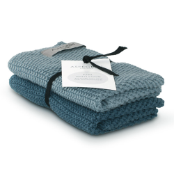 "Aspegren Spültuchset ""Knit with Love"" Solid Blue"