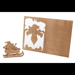 Holzbastelkarte Schlitten