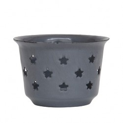 Emaille Teelicht mit Sternen Grau