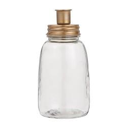 Glas mit Kerzenhalter Deckel Messing