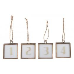 Zahlenanhänger im Glasrahmen Brass