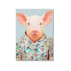 Karte mit Tierportrait Schwein