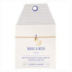 "Armband ""Make a wish"" Braun mit goldenem Anker"