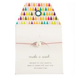 "Armband ""Make a wish"" Rosa mit kleiner Perle"