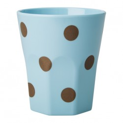 Großer Melamin Becher Polka Dots Blau