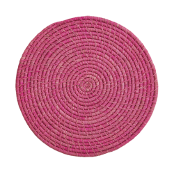 Großer Raffia Untersetzer Pink