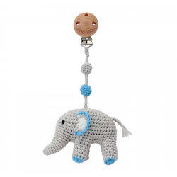 Häkel Elefant Kinderwagen Clip Blau