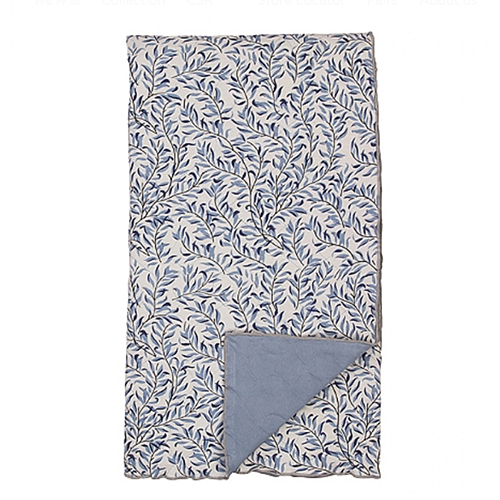 organic plaid thin leafs blau shabby. Black Bedroom Furniture Sets. Home Design Ideas