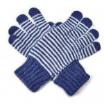 Angora-Woll Handschuhe Streifen Blau