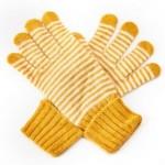 Angora-Woll Handschuhe Streifen Gelb