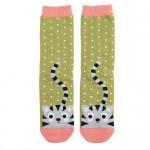 Miss Sparrow Socken Bamboo Katze Grün/Rosa