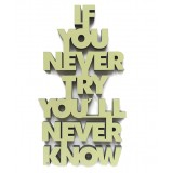 """3D Schrift """"If you never try you'll never know"""""""