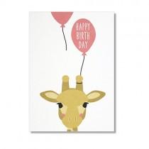 """Karte Ava & Yves Giraffe """"Happy Birthday"""""""
