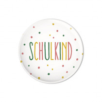 Button Schulkind Pink-Gelb