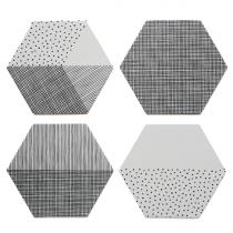 """Untersetzer Set """"Hexagon"""" Grau"""