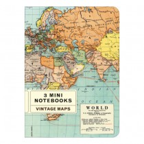 Mini Notebook 3er Set Vintage Maps