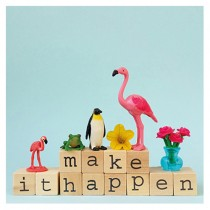 "Flamingo Grußkarte ""Make it happen"""