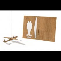 Holzbastelkarte Segelflugzeug