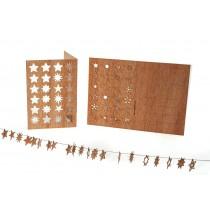 Holzbastelkarte 24 Sterne