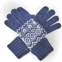 Angora-Woll Handschuhe Nordic Blau
