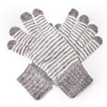 Angora-Woll Handschuhe Streifen Grau