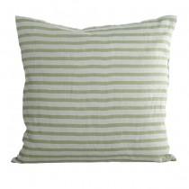Leinenkissen Stripe Grau-Grün