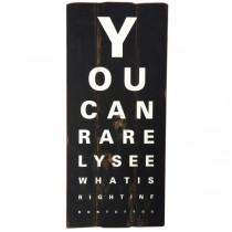 Holzschild Augentest