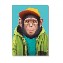 Karte mit Tierportrait Schimpanse