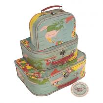 Kinderkoffer Set VINTAGE WORLDMAP