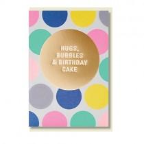 Klappkarte Hugs, Bubbles ans Birthday Cake