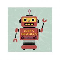 Klappkarte Happy Birthday Robot