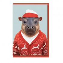 Tierportrait Klappkarte Hippo