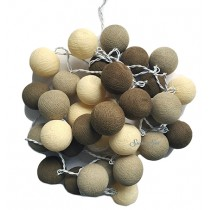 Lichterkette COTTON BALL Beige