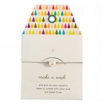 "Armband ""Make a wish"" Grau mit kleiner Perle"