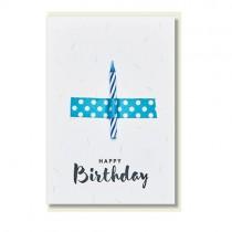 """Klappkarte """"Happy Birthday"""" mit blauer Kerze"""