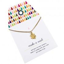 """Halskette """"Make a wish"""" mit goldenem Kleeblatt"""