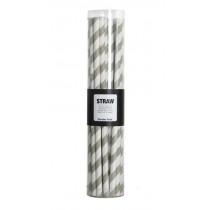Papier Strohhalme Set Stripes weiß/grau