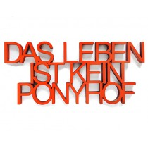 """3D Schrift """"Das Leben ist kein Ponyhof"""""""
