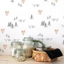 Wand Schablone Fuchs im Wald