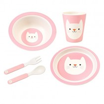 Happy Friends Bamboo Geschirr Set Katze