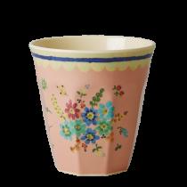 """Melamin Becher """"Vintage Flower"""" Korall"""