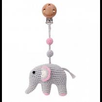 Häkel Elefant Kinderwagen Clip Rosa