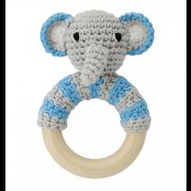 Rassel mit Holzring Elefant Blau