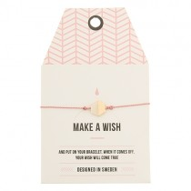 "Armband ""Make a Wish"" mit rosa Bändchen Hexagon Marble"